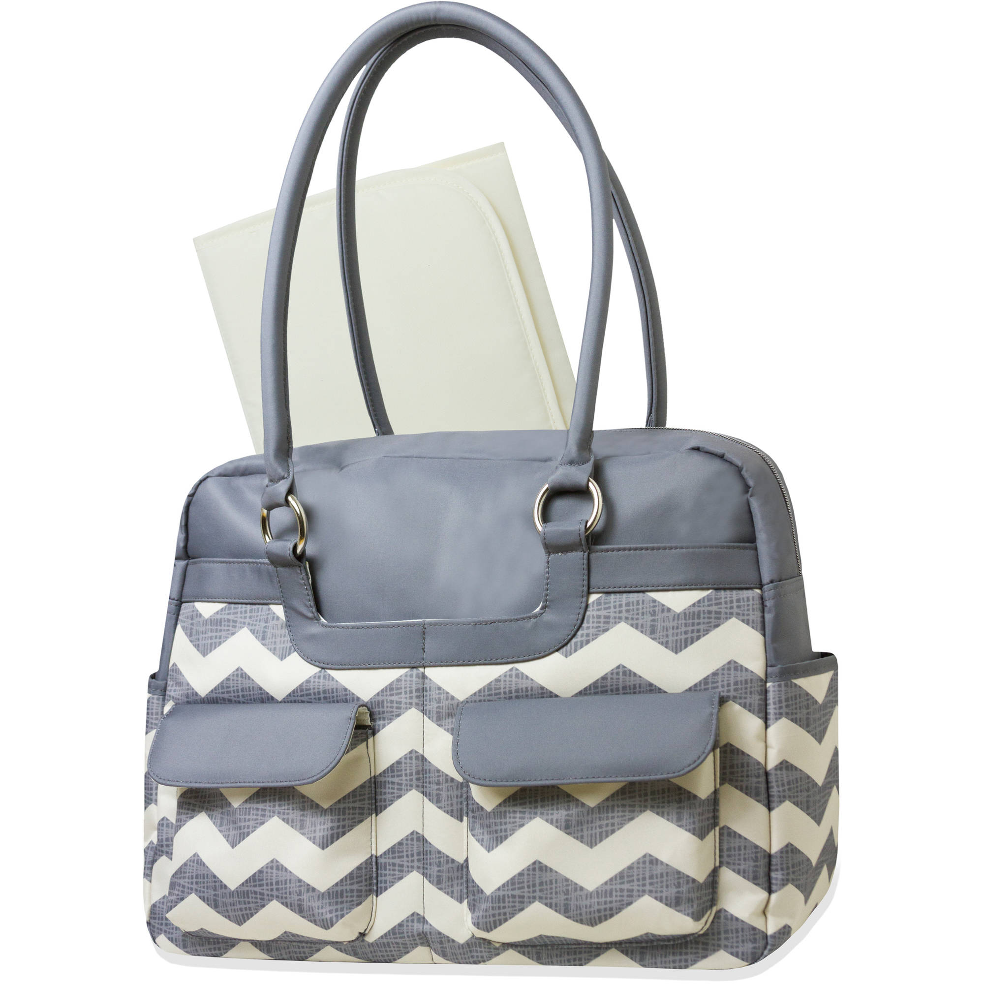 Baby Essentials Chevron Microfiber Diaper Bag, 2-Piece Set