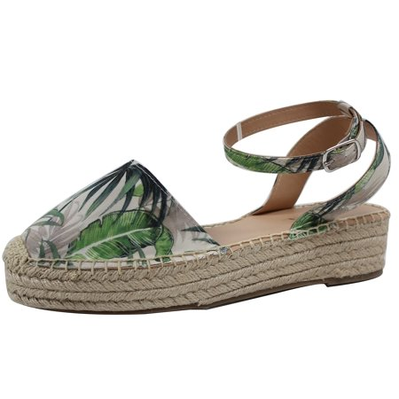 Soda Women's Cotton Ankle Strap Crochet Espadrilles Flatform Wedge (Green, 7.5 B(M) US)