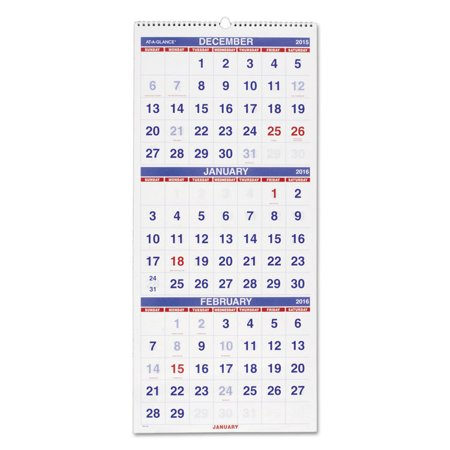 At-A-Glance 3 Month Reference Wall Calendar - Monthly - 1.2 Year - December 2017 till January 2019 - 3 Month Single Page Layout - 12.25