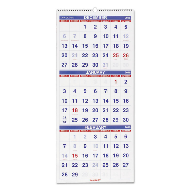 """At-A-Glance 3 Month Reference Wall Calendar - Monthly - 1.2 Year - December 2017 till January 2019 - 3 Month Single Page Layout - 12.25"""" x 27"""" - Wire Bound - Wall Mountable - White - Paper, Chipboard"""