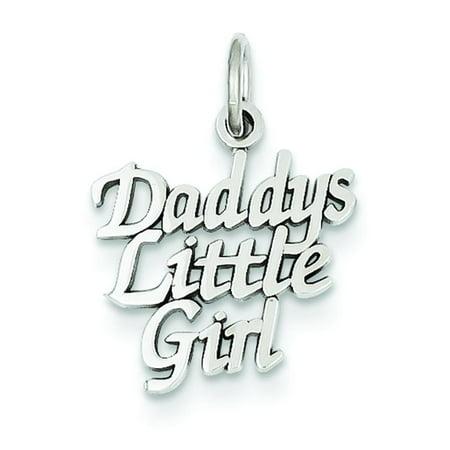 Mommys Little Girl Charm - 14K White Gold Daddy's Little Girl Charm Pendant