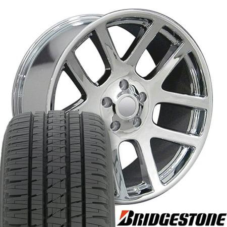 Amg Chrome Wheels (22x10 Wheels & Tires Fits Dodge, RAM Trucks - RAM SRT Style Chrome Rims, Hollander 2223 w/Bridgestone Tires)