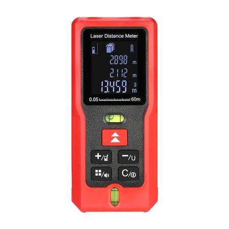 60m/197ft m/in/ft Mini Handheld LCD Digital Laser Distance Meter with 2 Bubble Levels Range Finder Diastimeter Distance Area Volume Measurement (Handheld Laser Level)
