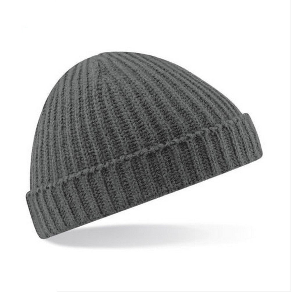 Mens Womans knitted woolly beanie winter warm ski ribbed turn up hat