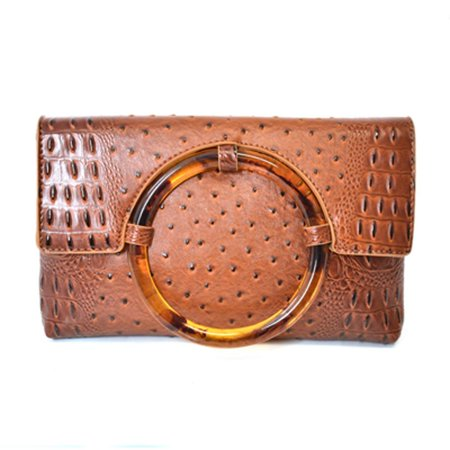 Charming Charlie Women's Ostrich Skin Clutch Bag - Faux Leather, Snap Closure - Multiple Pockets, Brown Ostrich Leg Skins