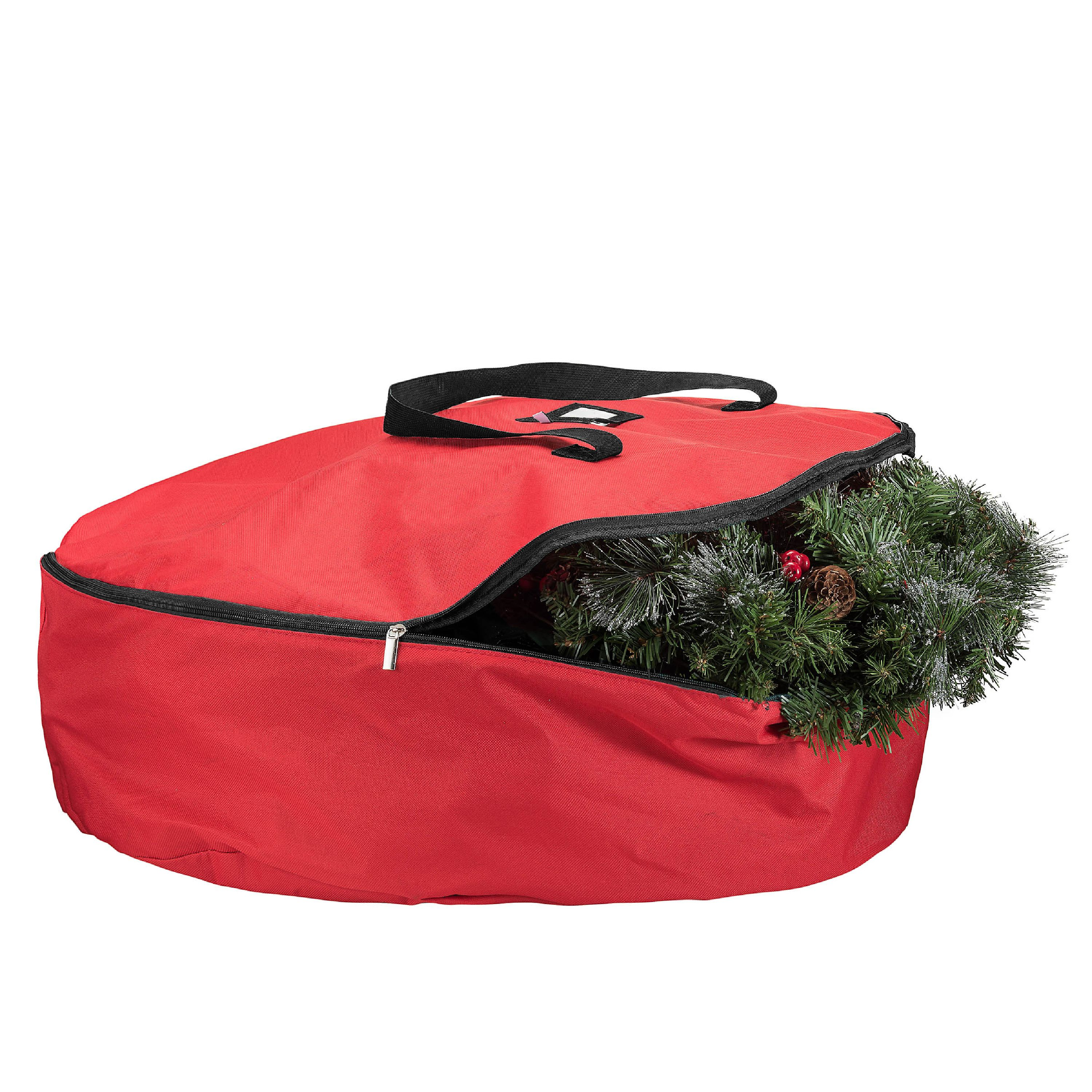 Zober Christmas Wreath Storage Bag -30 x 30 x 8, 600D Oxford Tear Resistant Storage Bag with Sleek Zipper Featuring Transparent Card Slot for Labeling - Red