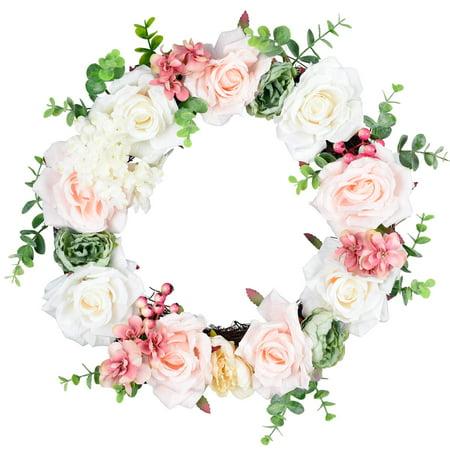 Coolmade Artificial Rose Flower Wreath, 14'' Door Wreath Adorn with Various Floral Fruitlet Eucalyptus Decor Fake Rose Spring Wreath for Front Door, Wall, Wedding, Home Décor (Pink & - Artificial Rose Wreath