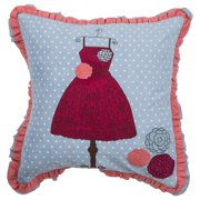 """Rizzy Home Decorative Poly Filled Throw Pillow Dress 18""""X18"""" Pink"""