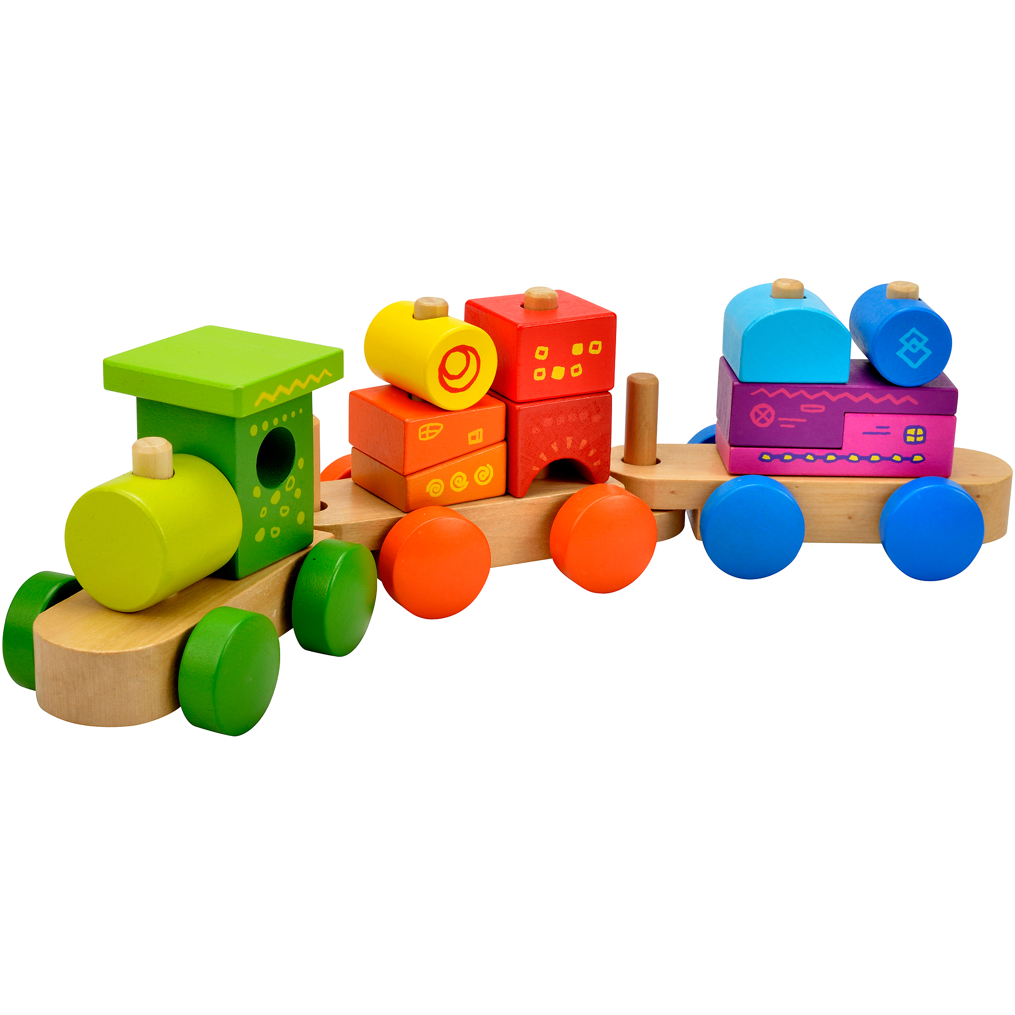 Spark. Create. Imagine. Wooden Stacking Train