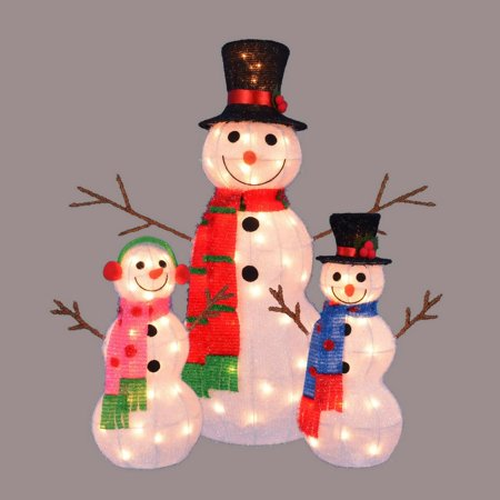 Set of 3 Lighted Tinsel Snowman Family Christmas Outdoor Decorations 35