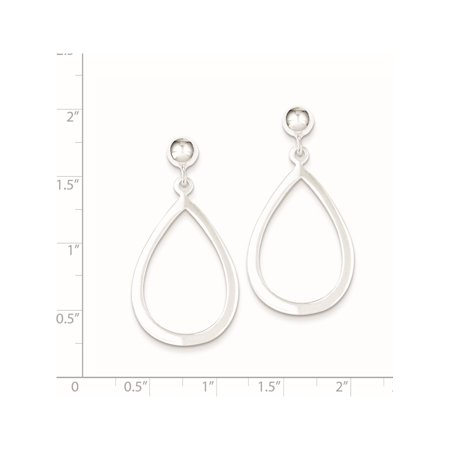 925 Sterling Silver Teardrop Post Dangle (20x39mm) Earrings - image 2 de 2