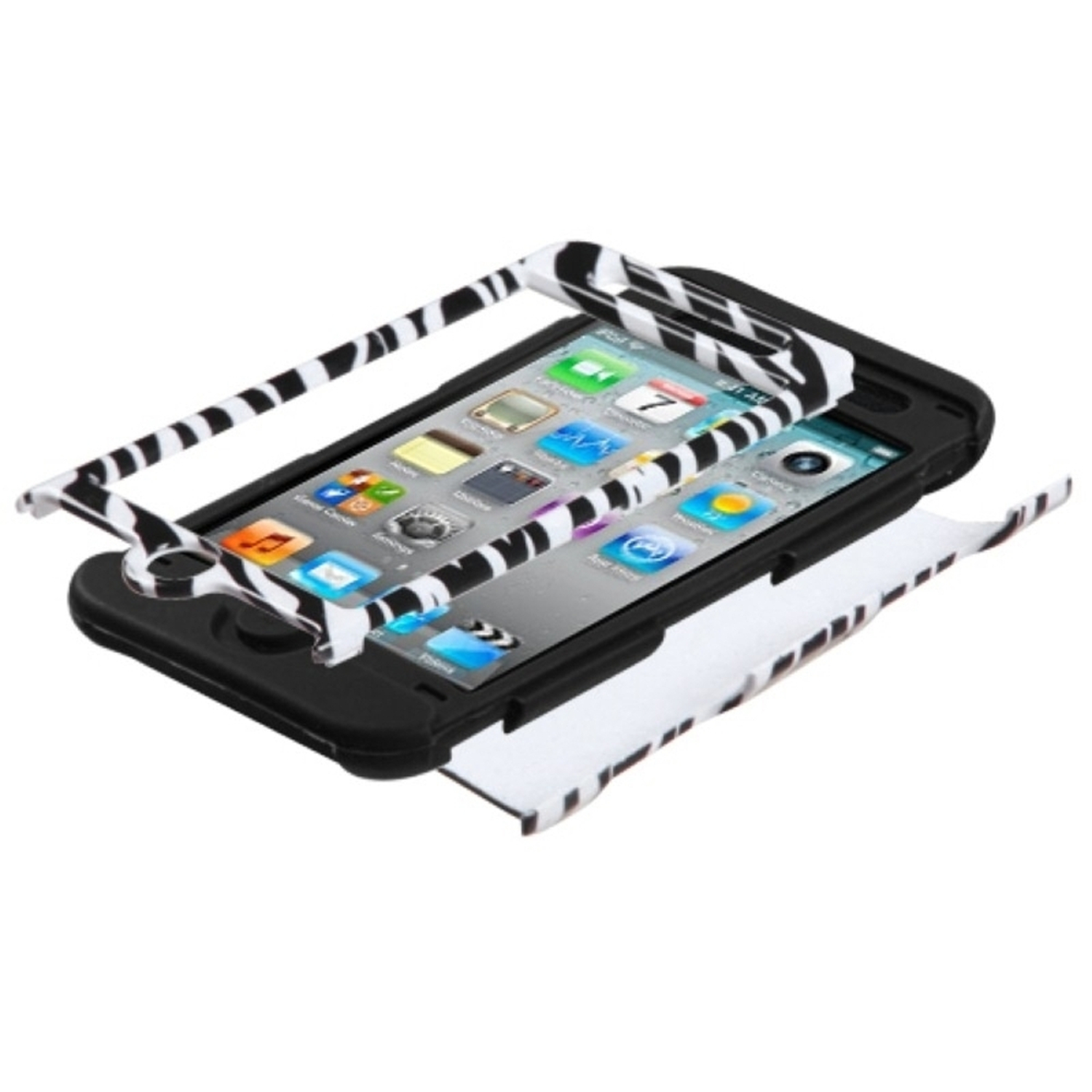 Insten Zebra Skin Black TUFF Hybrid Rugged Hard Shockproof Phone Case For APPLE iPod touch 4th generation