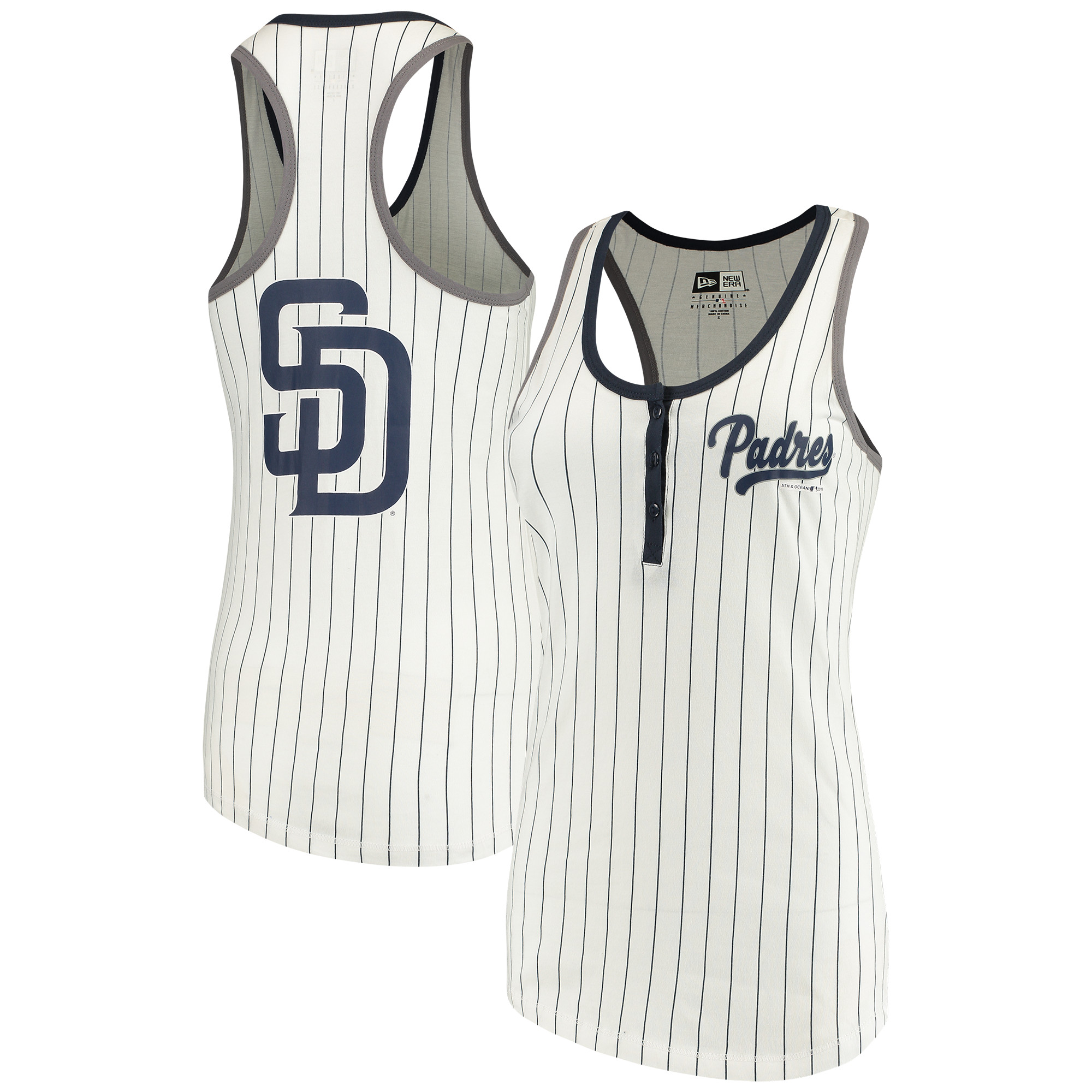 San Diego Padres 5th & Ocean by New Era Women's Pinstripe Henley Racerback Tank Top - White