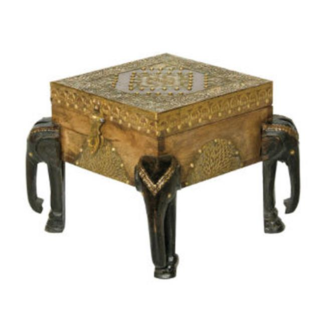 Midwest CBK EA1073 Medium Elephant Carved Table - Wood And Metal