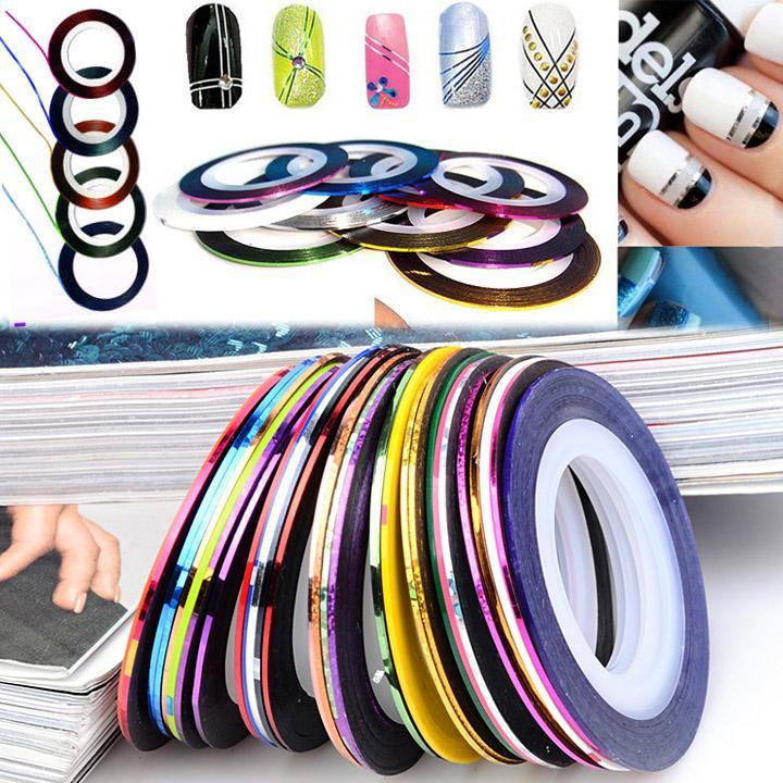 30Pcs Mixed Colors Rolls Striping Tape Line DIY Nail Art Tips Decoration Sticker Nail Care