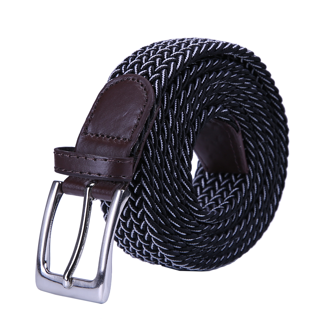HDE Men's Braided Elastic Stretch Belt Leather Woven Design Silver Finish Buckle - image 1 de 1