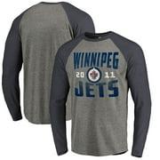 Winnipeg Jets Fanatics Branded Timeless Collection Antique Stack Big & Tall Tri-Blend Long Sleeve Raglan T-Shirt - Ash