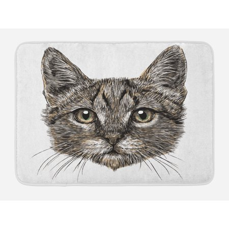 Animal Bath Mat, Cute Little Chubby Cat Head Looking Innocently with Long Whiskers Sketchy Like Artwork, Non-Slip Plush Mat Bathroom Kitchen Laundry Room Decor, 29.5 X 17.5 Inches, Grey, Ambesonne - Cute Chubby Teen