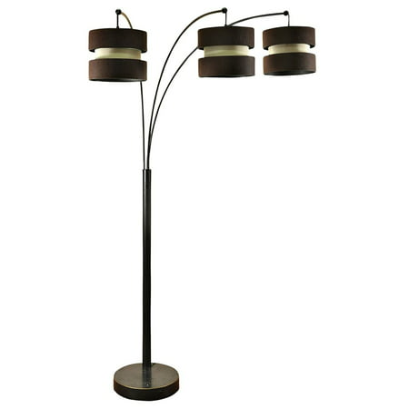Custom Made Lamp Shades - StyleCraft Modern Bronze 3 Arm Standing Arc Floor Lamp with Brown Custom Shades