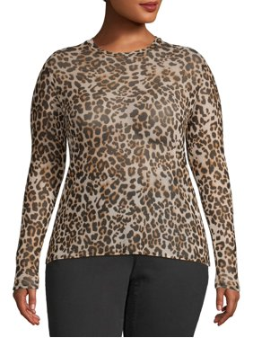 Eye Candy Juniors' Plus Size Mesh Crewneck Long Sleeve Top