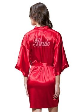 Product Image Turquaz Linen Satin Kimono Clear Rhinestone Bride Robe  (Small Medium 31d583e72