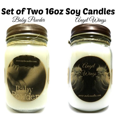 (COMBO Baby Powder & Angel Wings Set of Two 16oz All Natural Country Jar Soy Candles)