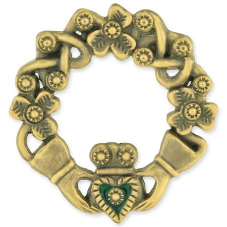 Antique Bronze Irish Claddagh Brooch Lapel Pin