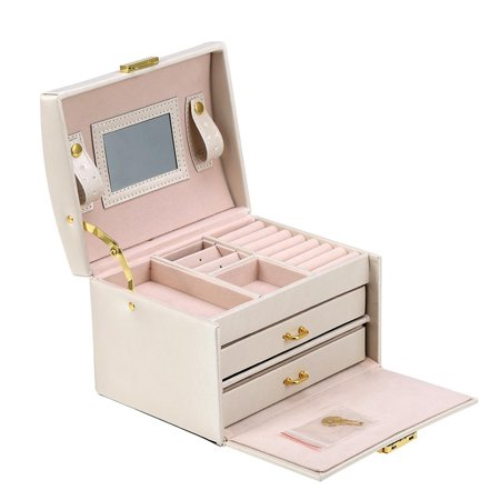 Material Box - Jewelry Storage Box Case, 3 Layers Jewelry Collection Storage Container Display Box, High Quality Delicate Material Prevent Scratching Organizer Box - Double Metal Holders Case Container, Home Decor