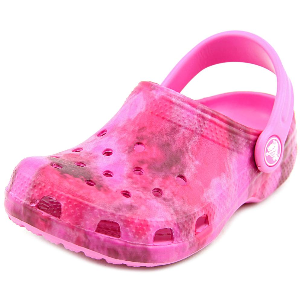 Crocs Classic Kids Youth Round Toe Synthetic Pink Clogs by Crocs