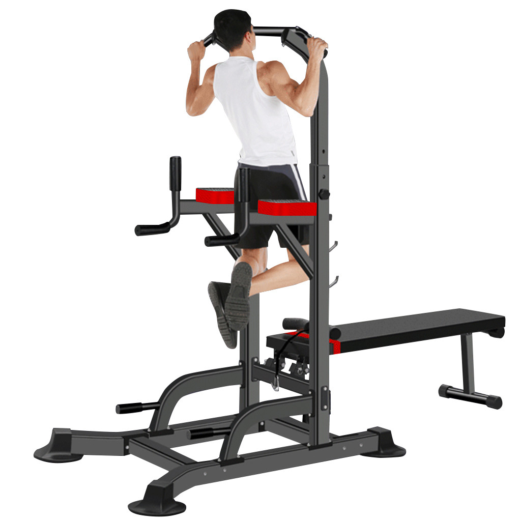 Power Tower Dip Station W//Dumbbell Bench Bar Adjustable Pull Up Bar Station Home