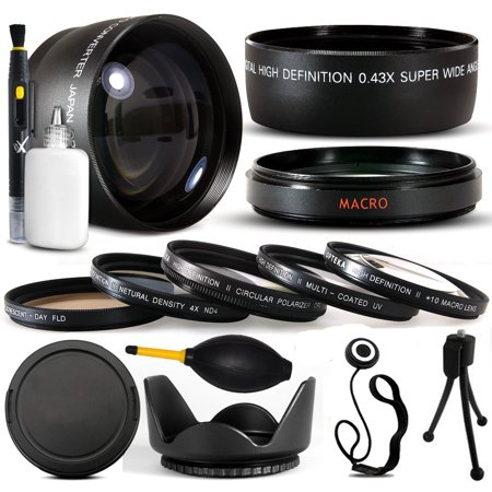 10 Piece 58MM Ultimate Lens Package For Canon EOS Rebel T5I T4I  SL1 T2i T3 T3i 60D 7D XS i XT XTI XS 50D 40D 30D 20D 6D 5D 1D DSLR Includes .43x + 2.2x Lens + 5 Piece Filter Kit Ccd 3.6 Mm Lens