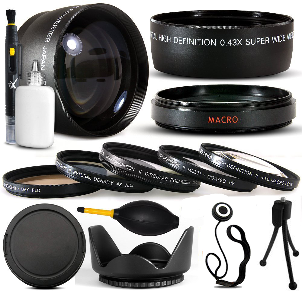 10 Piece 58MM Ultimate Lens Package For Canon EOS Rebel T5I T4I  SL1 T2i T3 T3i 60D 7D XS i XT XTI XS 50D 40D 30D 20D 6D 5D 1D DSLR Includes .43x + 2.2x Lens + 5 Piece Filter Kit