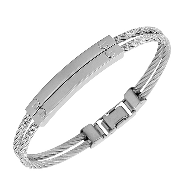 EDFORCE Stainless Steel Silver-Tone Twisted Cable Rope Bracelet