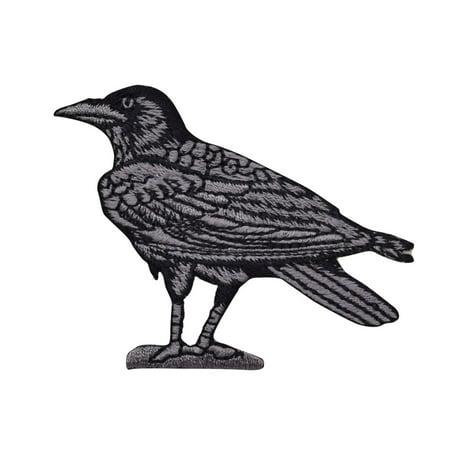 Raven/Crow - Black/Gray - Facing Left - Birds - Iron On Embroidered Applique (Baltimore Ravens Applique)