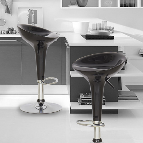 Adeco Trading Adjustable Height Swivel Bar Stool (Set of 2)