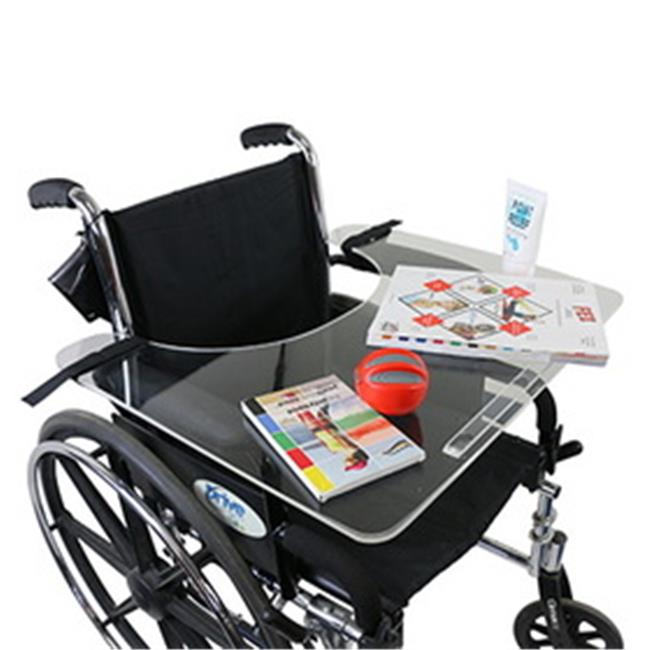 Fabrication Enterprises 50-1302 Adult Clear Acrylic Wheelchair Tray with Rim & Straps