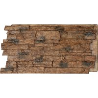 "48""W x 24""H x 1 1/4""D Acadia Ledge Stacked Stone, StoneWall Faux Stone Siding Panel, Canyon Brown"