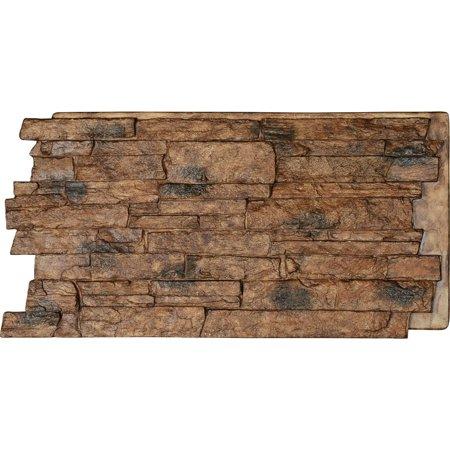 "48""W x 24""H x 1 1/4""D Acadia Ledge Stacked Stone, StoneWall Faux Stone Siding Panel, Canyon Brown"