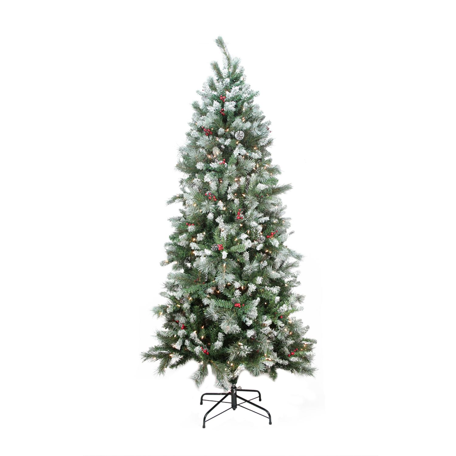 7' Green and White Pre-lit Mixed Snow Pine Artificial ...