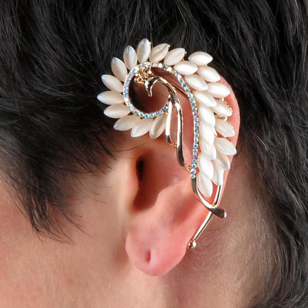 Gold-Tone Crystal Art Deco Peacock Left Side Ear Wrap Ear Cuff