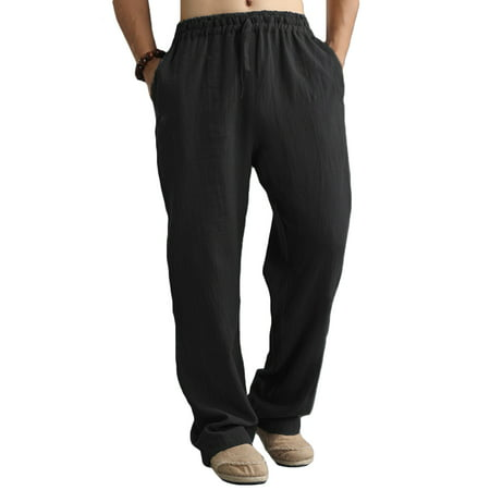 Woven Mens Trousers (Men's Casual Beach Long Pants Elastic Waist Linen Straight)