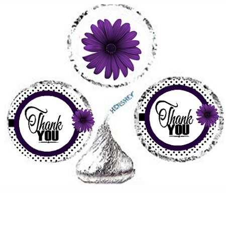 216ct Purple Thank You Party Favor Hersheys Kisses Candy Decoration Stickers / - Thank You Decorations
