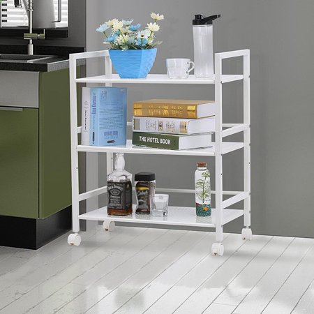 Equipment Rack Cart - Ktaxon 3-Tier Rolling Metal Storage Organizer - Mobile Utility Cart with Caster Wheels