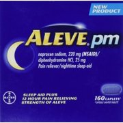 Aleve PM 160 Caplets Total Naproxen Sodium 220mg NSAID  Diphenhydramine 25 mg (Nighttime Sleep-Aid)