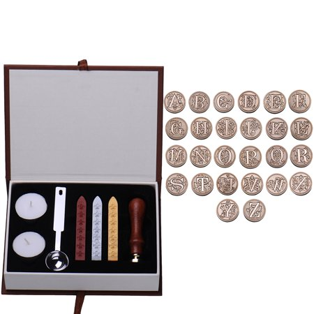 Vintage Letter Wax Seals Stamp Set Alphabet Initial A-Z Wedding Invitation Badge Kit Set