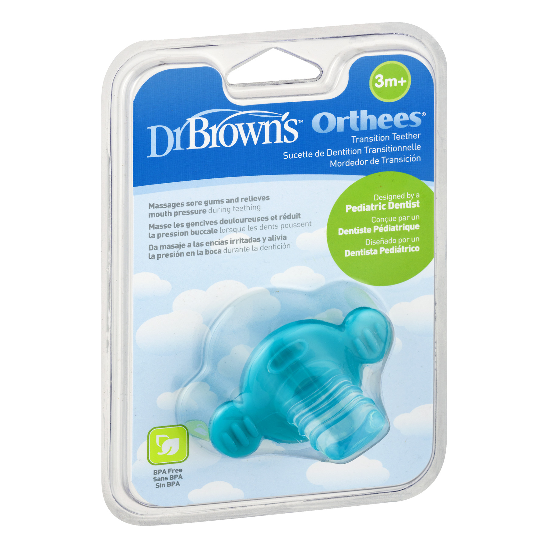BPA Free Pack of 3 Dr Blue Brown/'s Orthees Transition Teether 3m+