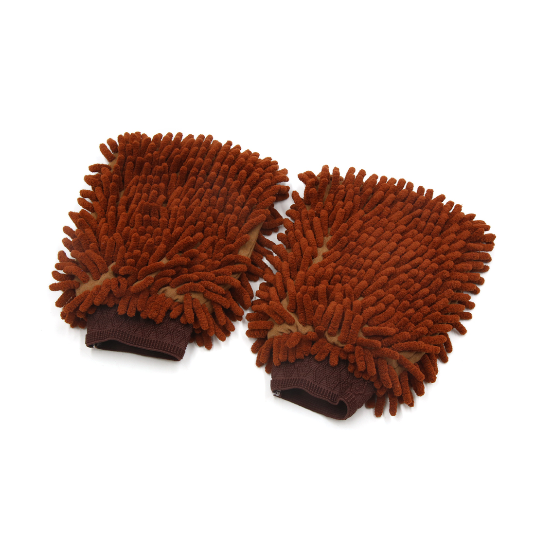 2 Pcs Protective Microfiber Chenille Car Wash Glove Anti Scratch for Homework Auto Vehicle Coffee Color