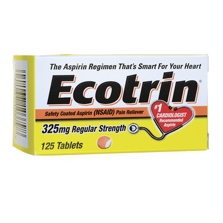 Ecotrin Regular Strength Aspirin 325 mg 125 Tabs Flu 100 Tabs