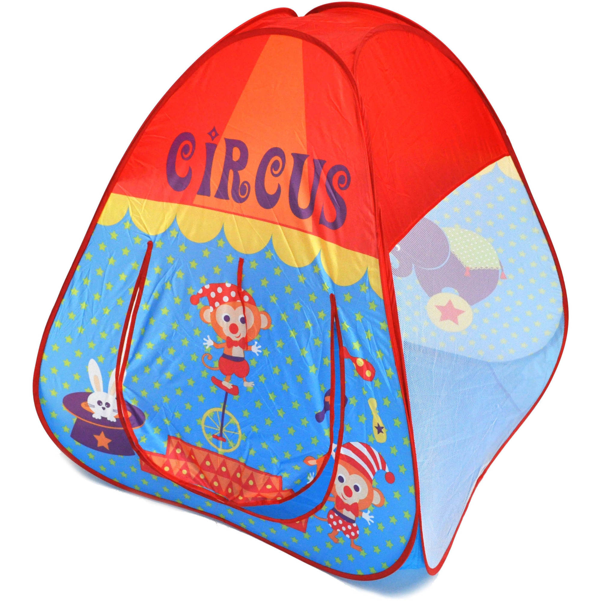 Circus Theme Twist Play Tent House for Kids with Safety Meshing for Child Visibility and Tote Bag