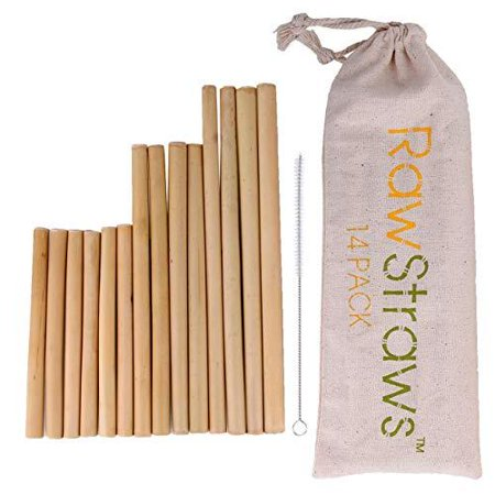 Reusable Bamboo Straws Biodegradable Drinking – 14 Pack Sizes 8.5 inch 7.1 inch and 5.1 inch Eco-Friendly Storage Pouch and Cleaning (Bamboo Drinking Straws)